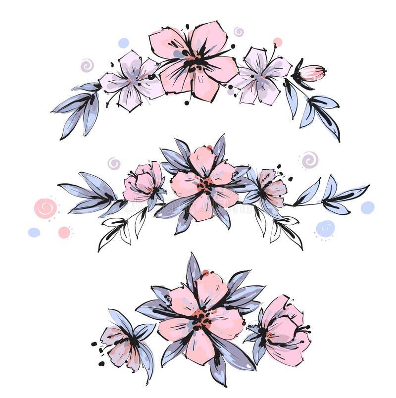 Insieme delle disposizioni floreali Fiori rosa di melo con le foglie Fiori romantici del giardino di vettore illustrazione di stock