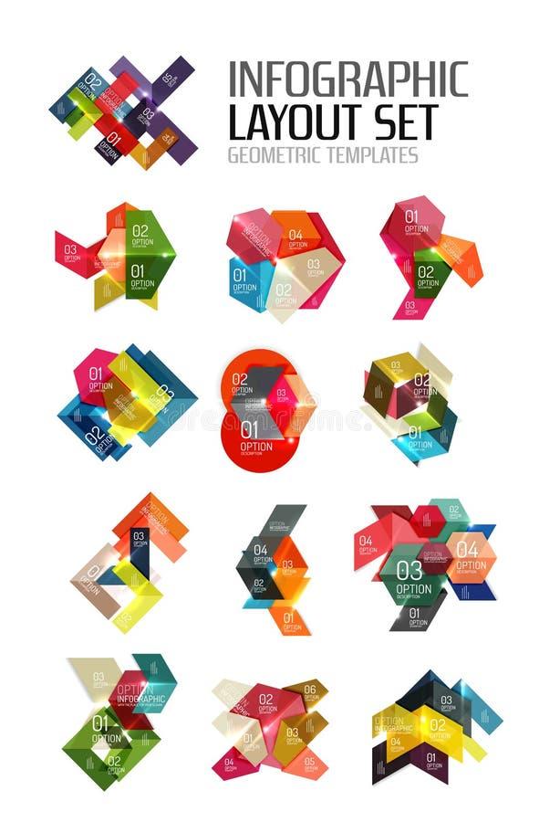 Insieme delle disposizioni grafiche di carta geometriche astratte illustrazione vettoriale