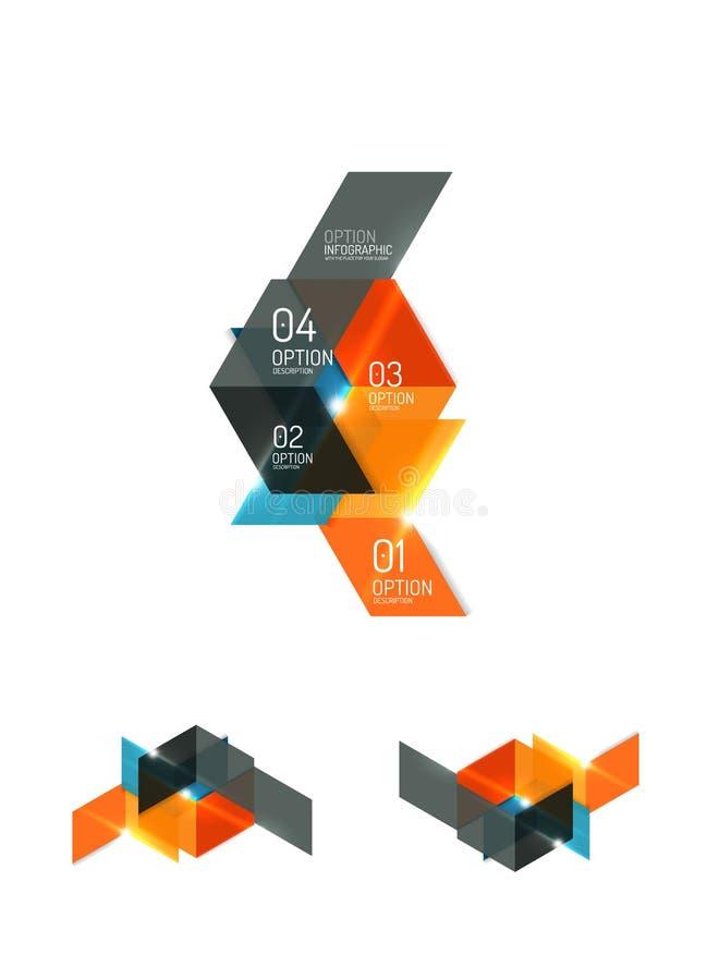 Insieme delle disposizioni grafiche di carta geometriche astratte royalty illustrazione gratis