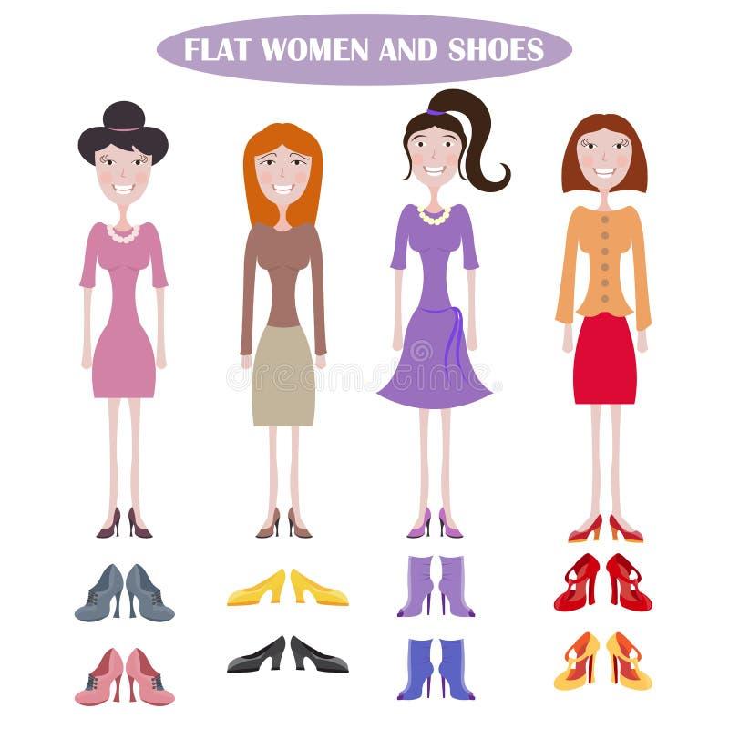 Insieme delle donne diritte nei vestiti differenti royalty illustrazione gratis