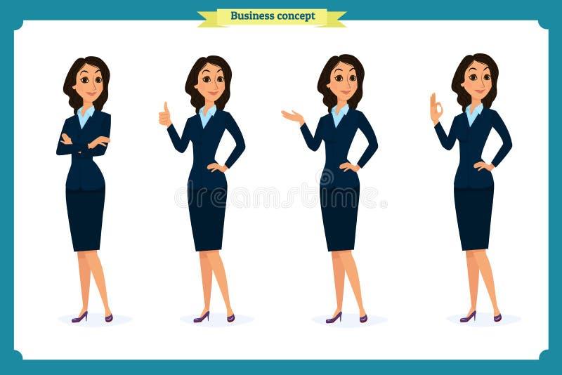 Insieme delle donne eleganti di affari in vestiti convenzionali Guardaroba basso, codice di abbigliamento corporativo femminile illustrazione vettoriale