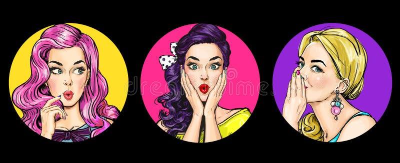 Insieme delle donne stupite nello stile di Pop art Ragazze del gossip con wow il fronte illustrazione vettoriale