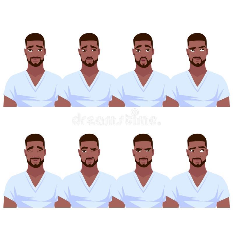 Insieme delle emozioni afroamericane del ` s dell'uomo illustrazione vettoriale