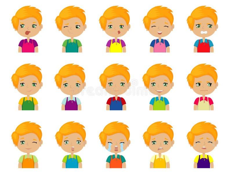Insieme delle emozioni caucasiche redheaded sveglie del fronte del ragazzo del fumetto illustrazione di stock