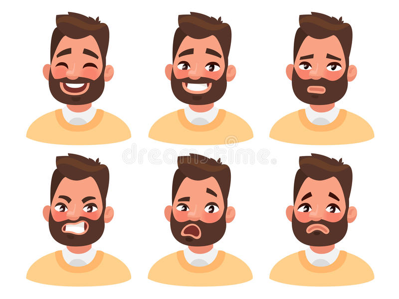 Insieme delle emozioni facciali maschii Carattere barbuto di emoji dell'uomo con i Di illustrazione di stock