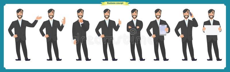 Insieme delle emozioni facciali maschii personaggio dei cartoni animati piano Uomo d'affari in un vestito ed in un legame Gente d illustrazione vettoriale