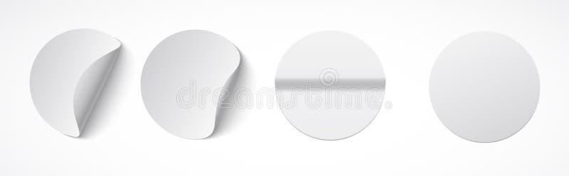 Insieme delle etichette appiccicose bianche rotonde con i bordi piegati Modello vuoto per gli appunti, prezzi da pagare, incollan illustrazione vettoriale