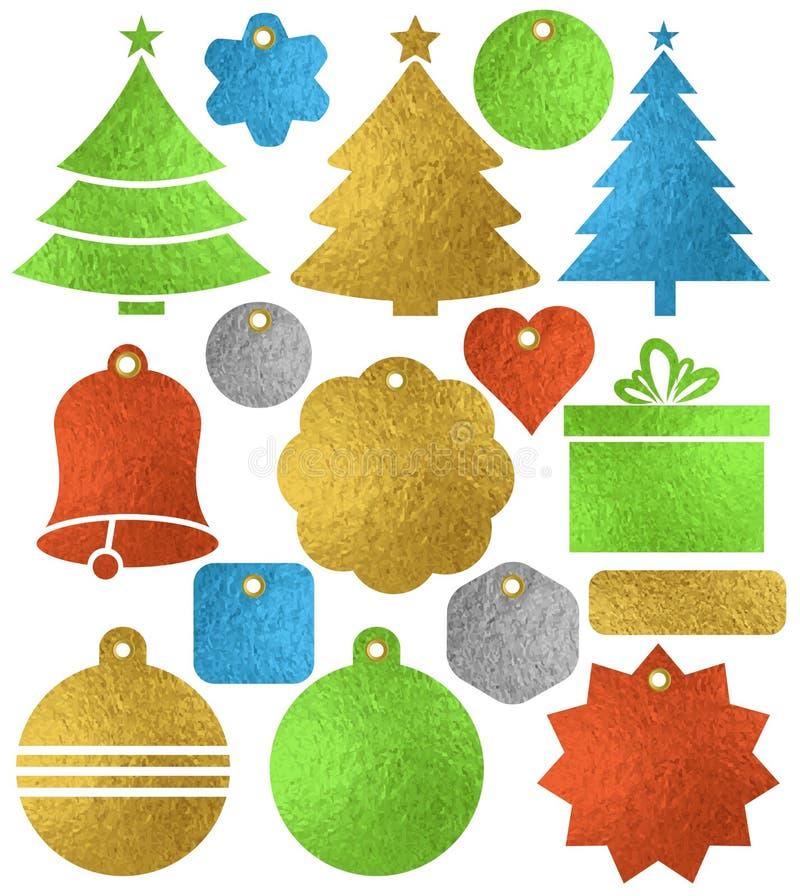 Insieme delle etichette brillanti dorate di natale di colore, scatola, albero, campana illustrazione di stock