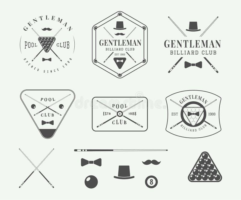Insieme delle etichette d'annata del biliardo, emblemi, logo illustrazione di stock