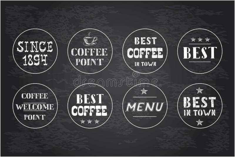 Insieme delle etichette d'annata del caffè, disegnato a mano royalty illustrazione gratis