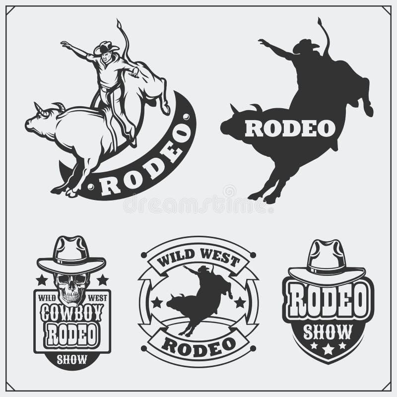 Insieme delle etichette d'annata del rodeo, dei distintivi, degli emblemi e degli elementi progettati illustrazione di stock
