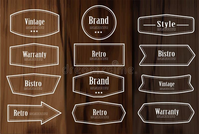 Insieme delle etichette d'annata e degli elementi della struttura di stile di vettore per progettazione illustrazione vettoriale