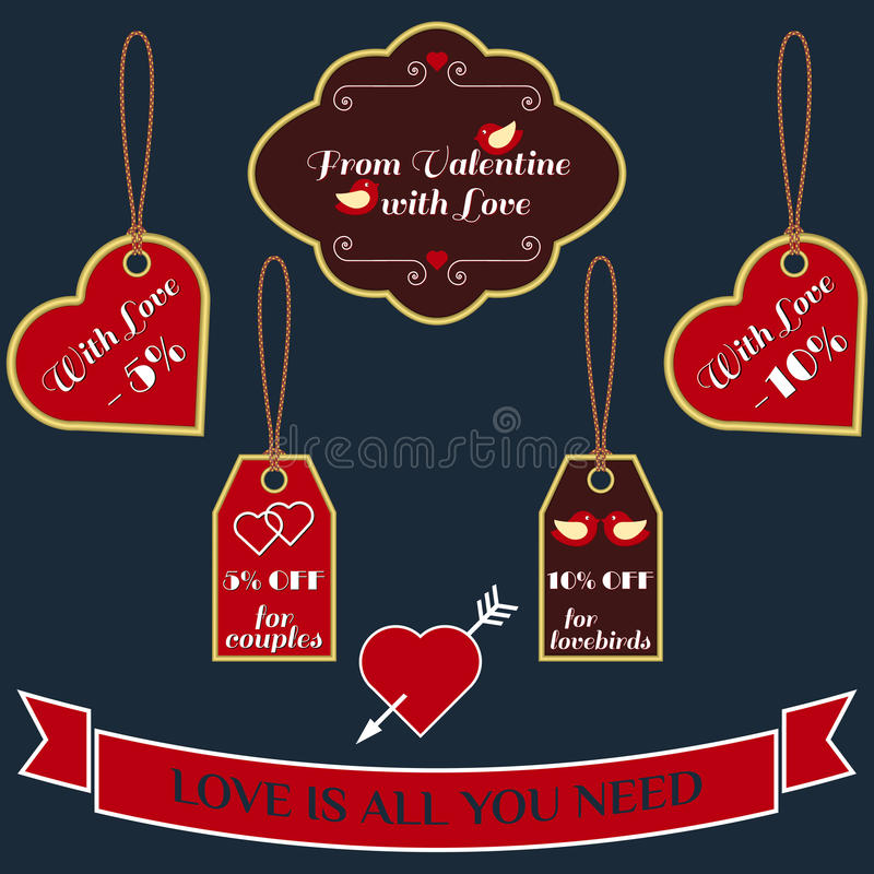 Insieme delle etichette d'annata e delle etichette di vendita di San Valentino di vettore illustrazione vettoriale