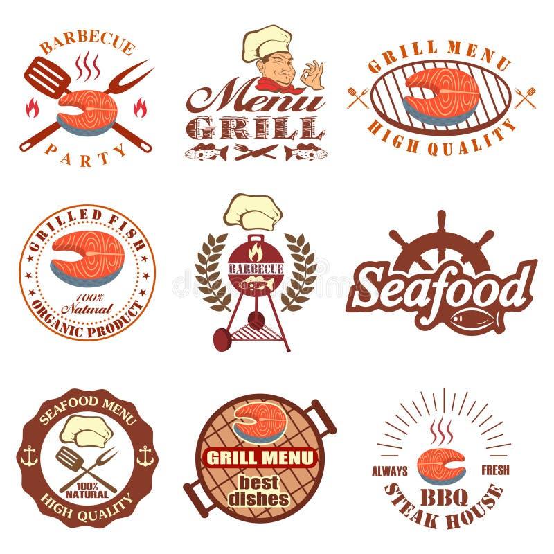 Insieme delle etichette dei frutti di mare illustrazione di stock