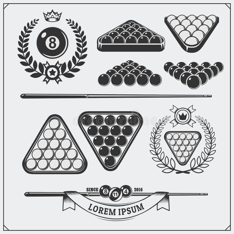 Insieme delle etichette del biliardo, degli emblemi, dei distintivi, delle icone e degli elementi di progettazione illustrazione vettoriale
