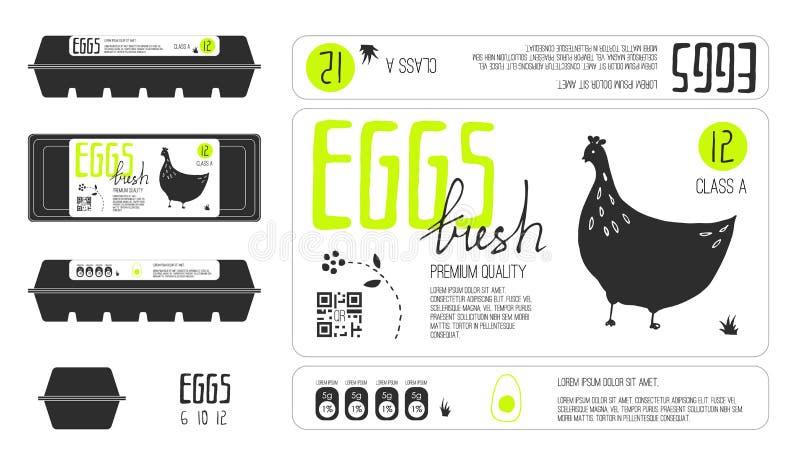 Insieme delle etichette del modello per l'imballaggio dell'uovo fotografie stock libere da diritti