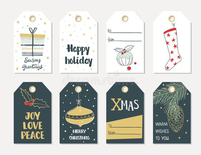 Insieme delle etichette del regalo di Natale di tiraggio della mano illustrazione di stock