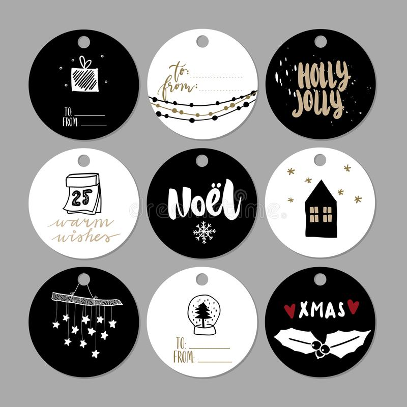 Insieme delle etichette del regalo di Natale di scarabocchio Icone sveglie disegnate a mano di vettore Stile scandinavo stampabil illustrazione di stock