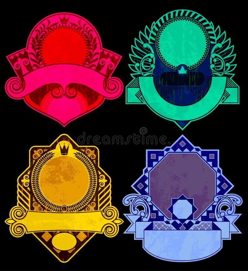 Insieme delle etichette dell'annata nei colori vivi sul nero illustrazione di stock
