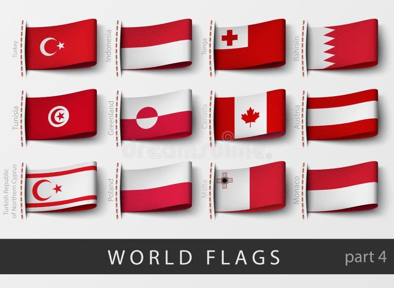 Insieme delle etichette della bandiera di tutti i paesi royalty illustrazione gratis