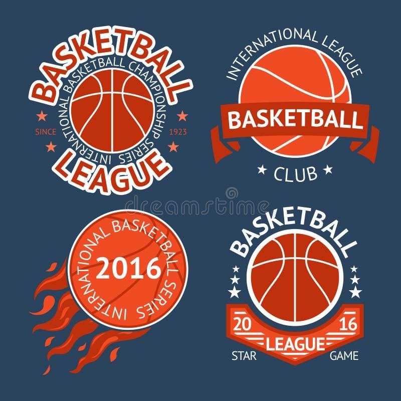 Insieme delle etichette di pallacanestro con le palle ed i nastri Vettore royalty illustrazione gratis