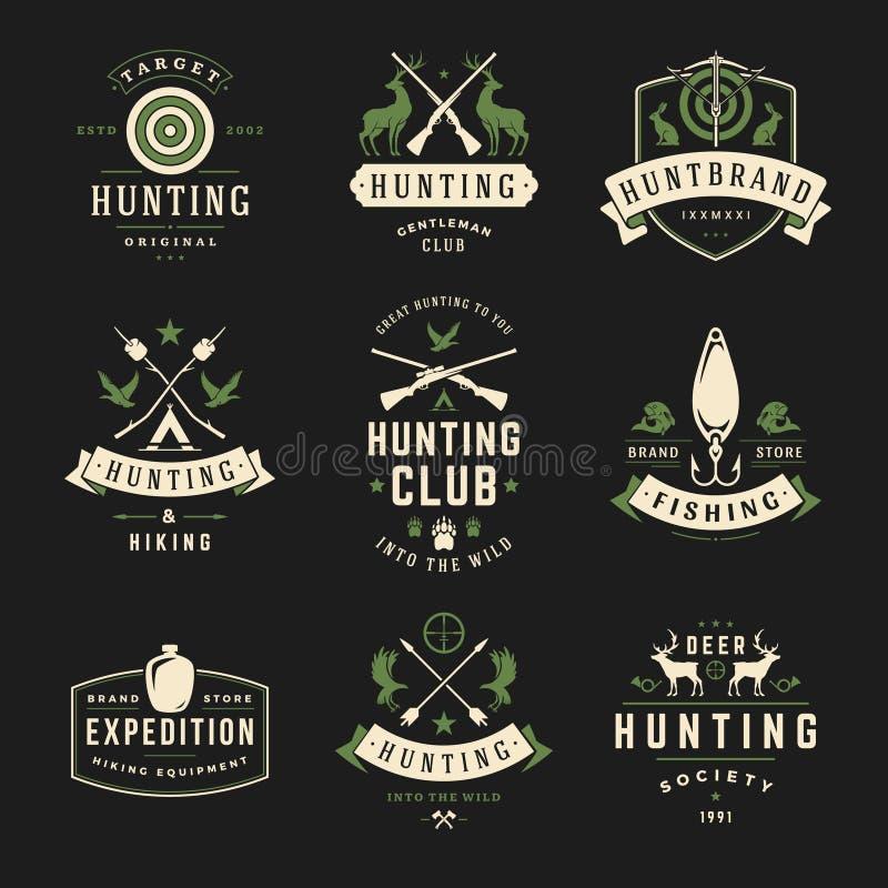 Insieme delle etichette di pesca e di caccia, distintivi, logos royalty illustrazione gratis