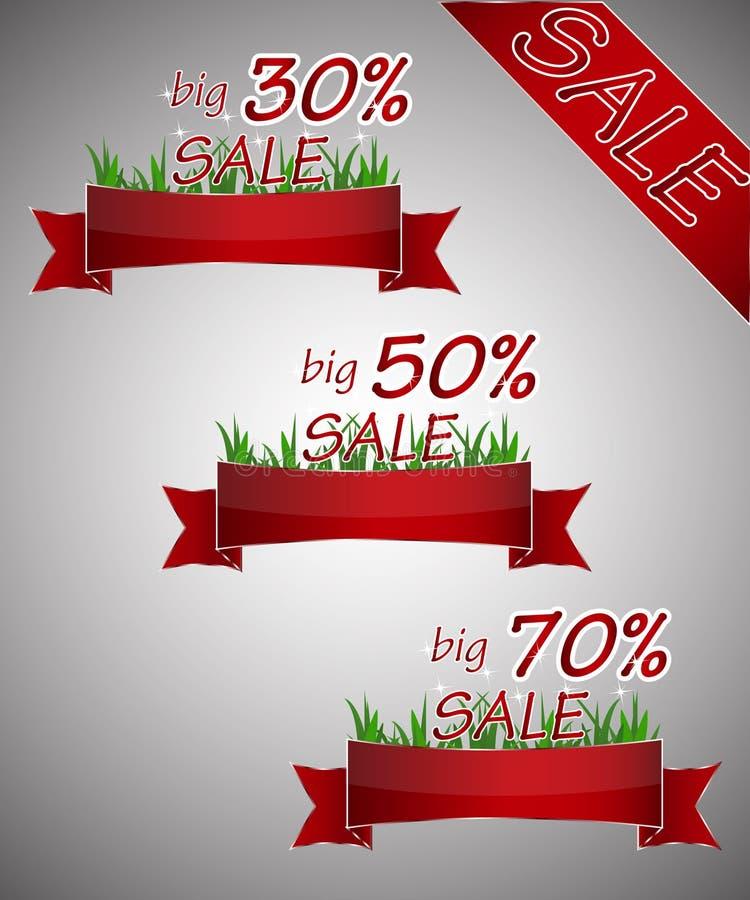 Insieme delle etichette di rosso per la grande vendita illustrazione vettoriale