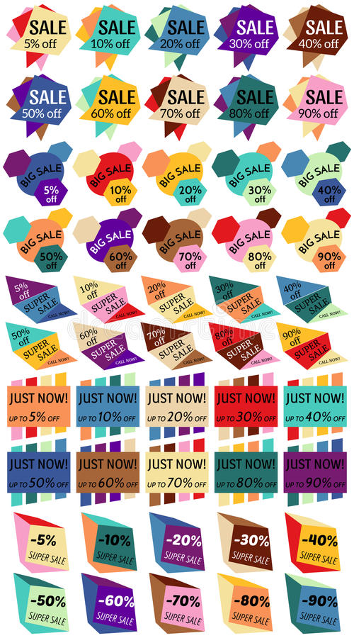 Insieme delle etichette di sconto di vendita, etichette, emblemi Raccolta di web degli autoadesivi e dei distintivi da vendere illustrazione vettoriale