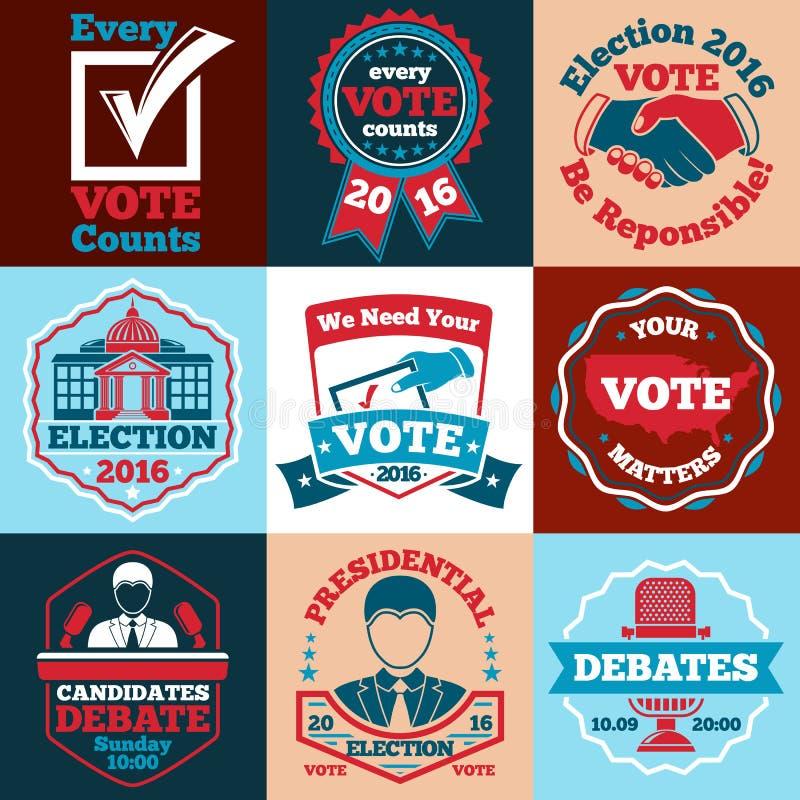 Insieme delle etichette di vettore di voto, dei distintivi per le elezioni ecc royalty illustrazione gratis