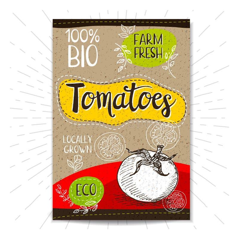 Insieme delle etichette disegnate a mano alimento, spezie illustrazione di stock