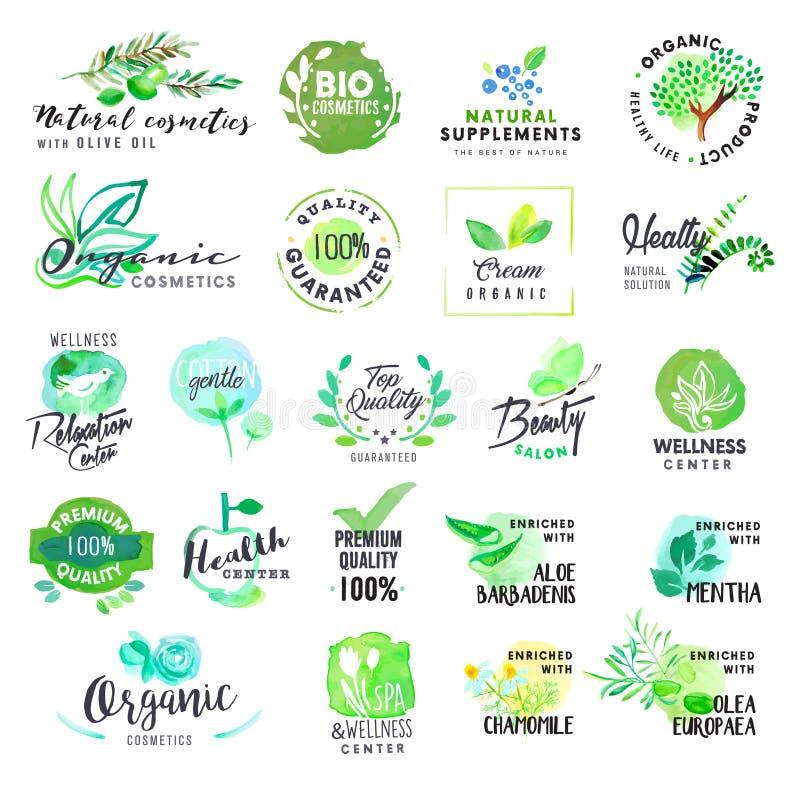 Insieme delle etichette e dei distintivi disegnati a mano dell'acquerello per i cosmetici e la sanità illustrazione di stock