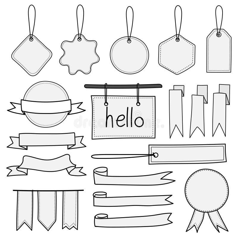 Insieme delle etichette e dei nastri disegnati a mano delle etichette delle insegne Elementi isolati scarabocchio disegnato a man illustrazione vettoriale
