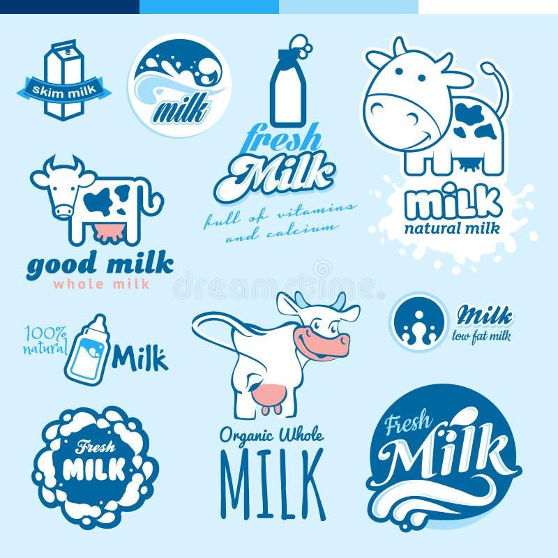Insieme delle etichette e delle icone per latte