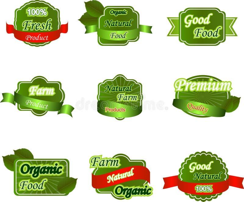 Insieme delle etichette fresche premio naturali illustrazione di stock