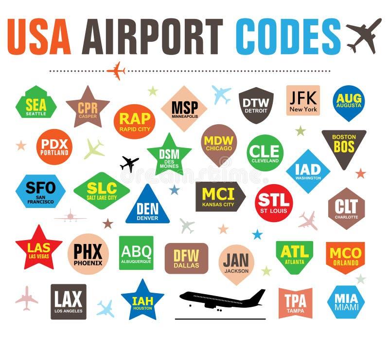 Insieme delle etichette isolate di vettore con i codici dell'aeroporto di U.S.A. fotografia stock libera da diritti