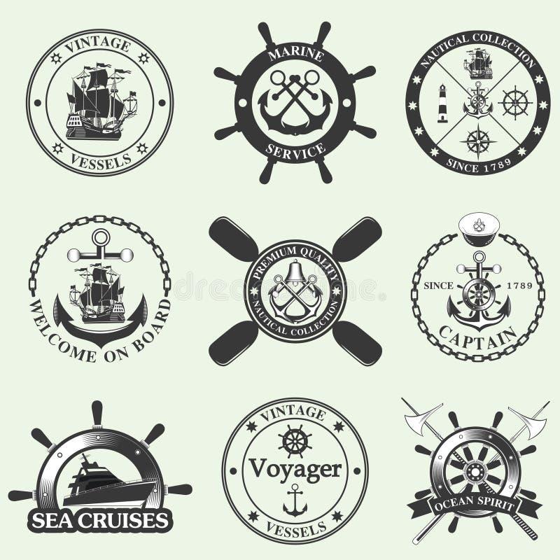 Insieme delle etichette nautiche d'annata, delle icone e degli elementi di progettazione illustrazione di stock