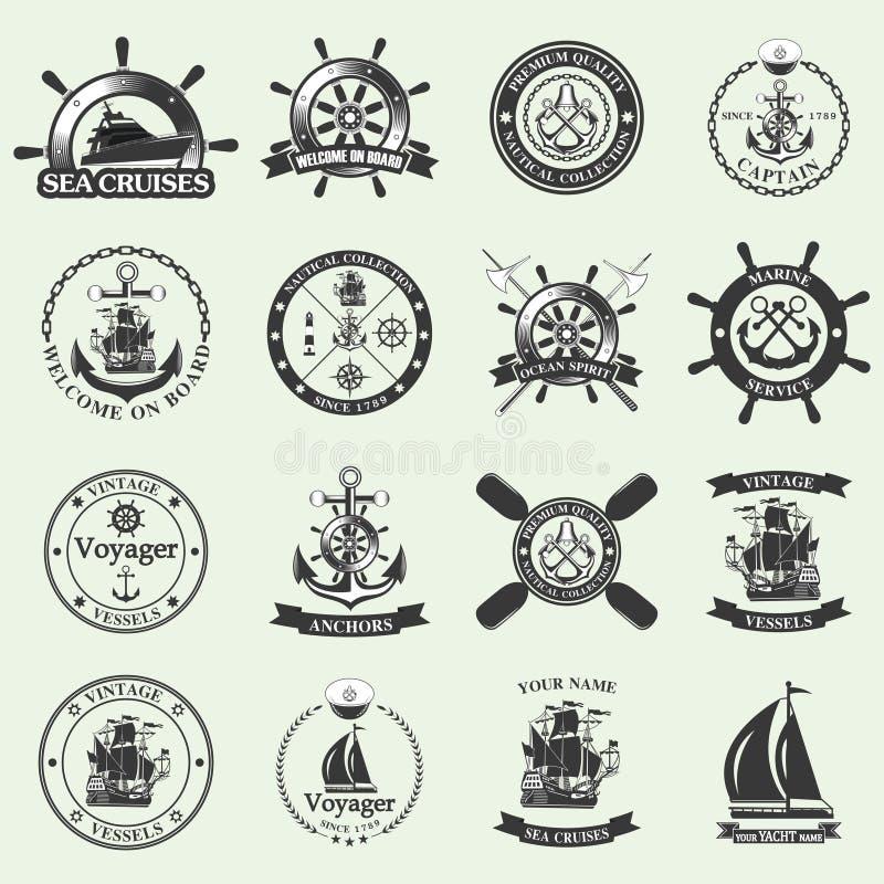Insieme delle etichette nautiche d'annata, delle icone e degli elementi di progettazione illustrazione vettoriale
