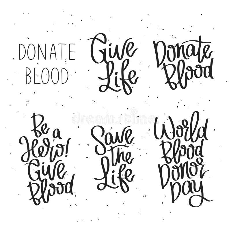 Insieme delle etichette per il giorno del donatore di sangue del mondo illustrazione di stock