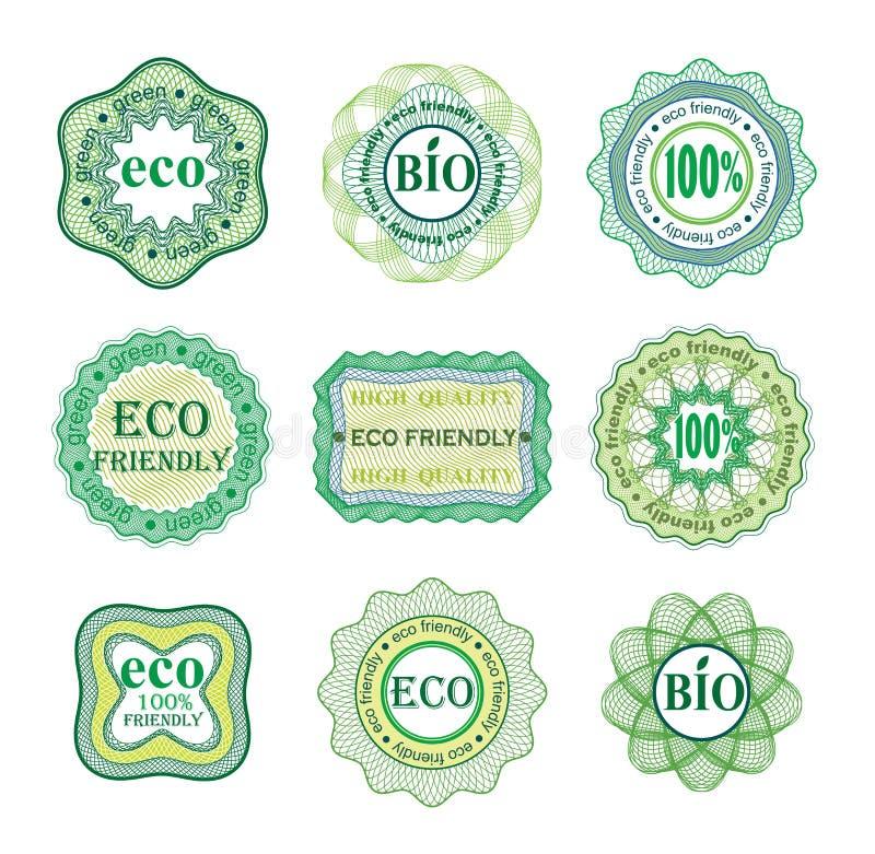 Insieme delle etichette per tecnologia e produzione verdi illustrazione vettoriale