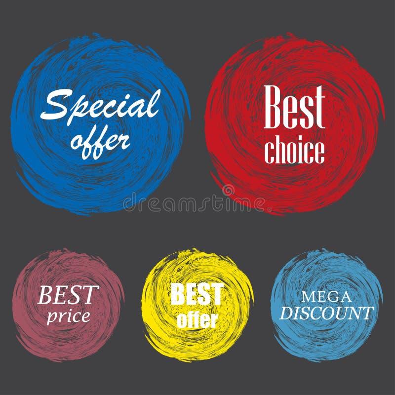 Insieme delle etichette variopinte d'annata per i saluti e la promozione Garanzia di qualità premio, bestseller, migliore scelta, royalty illustrazione gratis