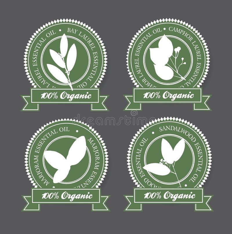 Insieme delle etichette verdi dell'olio essenziale illustrazione di stock