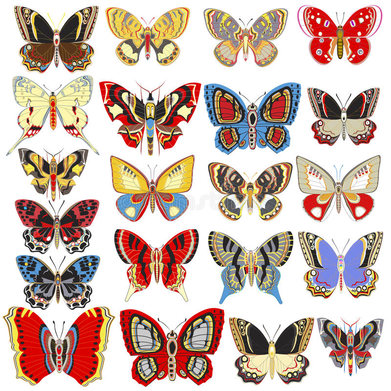 Insieme delle farfalle decorative su un fondo bianco illustrazione di stock