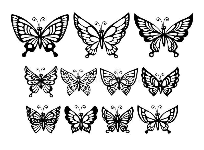 Insieme delle farfalle meravigliose della siluetta Vettore illustrazione di stock