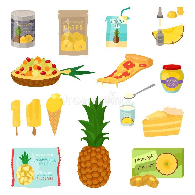 Insieme delle fette dell'ananas isolate su fondo bianco Vector l'illustrazione per il manifesto decorativo, prodotto naturale del illustrazione vettoriale