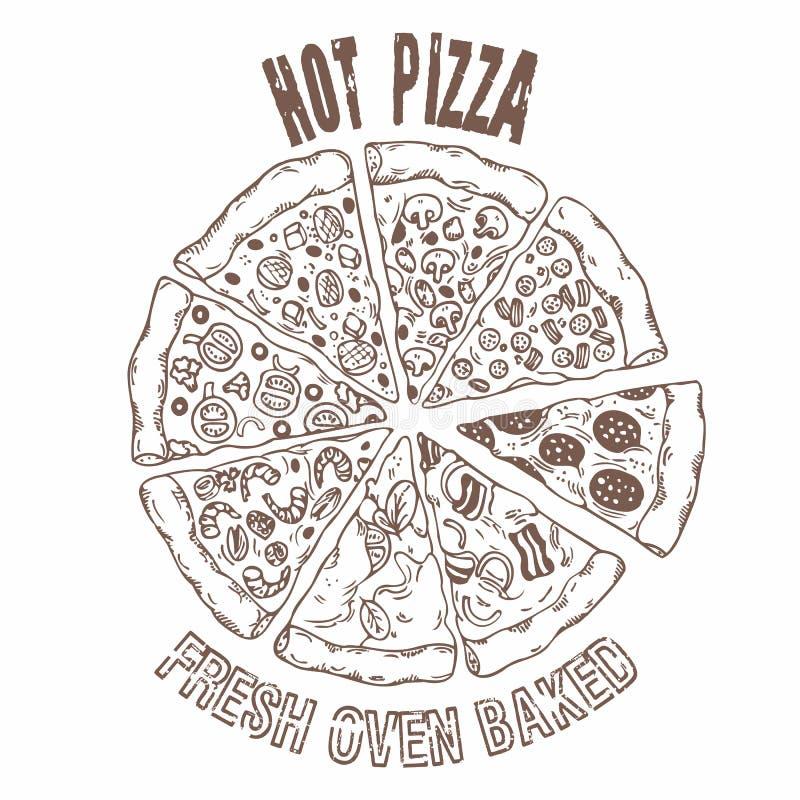 Insieme delle fette di pizza differenti nel vettore Alimento del disegno della mano illustrazione di stock