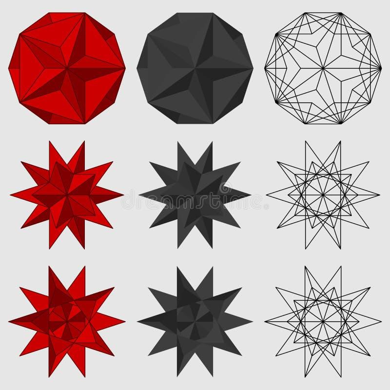 Insieme delle figure geometriche tridimensionali illustrazione vettoriale