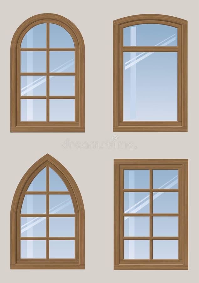 Insieme delle finestre di legno illustrazione vettoriale immagine 75146324 - Finestre di legno ...