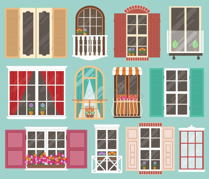 Insieme delle finestre variopinte con i davanzali tende fiori balconi illustrazione - Rivestire i davanzali delle finestre ...
