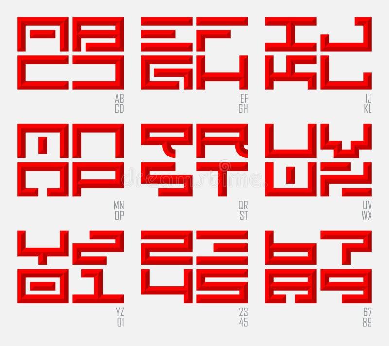 Insieme delle fonti orientali e dei numeri nello stile orientale Lettere maiuscole illustrazione di stock