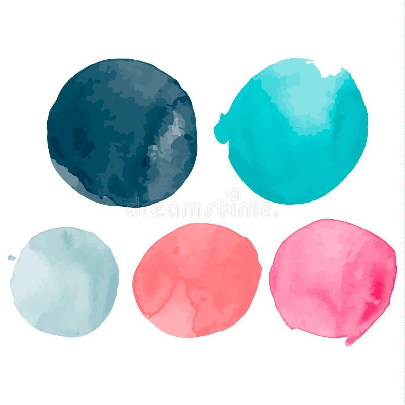 Insieme delle forme dell'acquerello Chiazze degli acquerelli Insieme del cerchio dipinto a mano dell'acquerello variopinto isolat illustrazione di stock